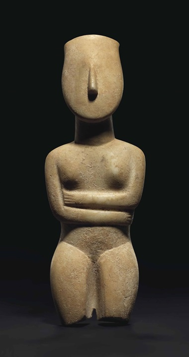 A large Cycladic marble female figure, late Spedos variety, circa 2500-2400 B.C. Estimate £300,000-500,000. Sold for £1,202,500 in the Antiquities sale on 6 July 2016