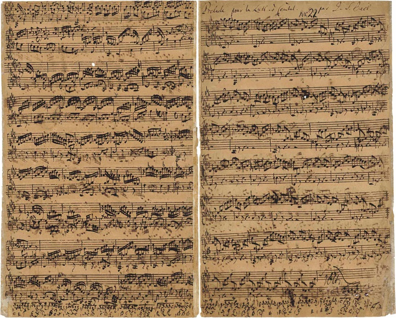 Johann Sebastian Bach (1685-1750), Autograph music manuscript, titled and signed in autograph Prelude [— Fuga —Allegro] pour la Luth. ò Cembal. Par J.S. Bach', for the Prelude, Fugue and Allegro for lute or keyboard in E flat major, BWV 998, n.d. [c.1735-1740]. Estimate £1,500,000-2,500,000. Sold for £2,518,500 in the Valuable Books and Manuscripts sale on