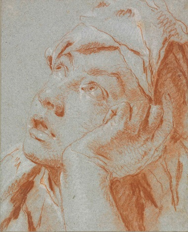 Giovanni Battista Tiepolo (Venice 1696-1770 Madrid), Head of a Boy in a Cap, looking up to the left, his left hand to his cheek. Red and white chalk on blue paper. Estimate £200,000-300,000. Sold for £542,500 in the Old Master & British Drawings sale on 5 July 2016