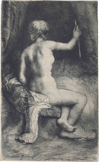 Rembrandt Harmensz. van Rijn, The Woman with the Arrow, 1661. Etching and drypoint, on laid paper. Estimate £150,000-250,000. Sold for £212,500 in Fifty Prints by Rembrandt Van Rijn A Private English Collection on 5 July 2016