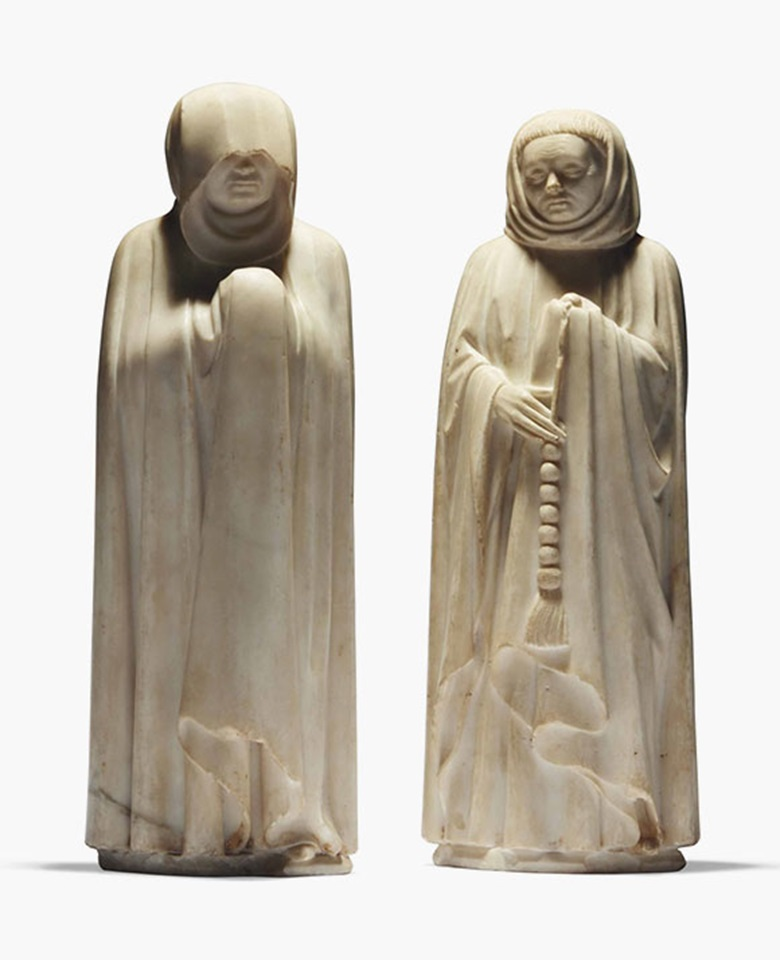 Jean de Cambrai, Two Marble Mourners from the Tomb of Jean de France. Sold for €5,025,000  $5,652,190