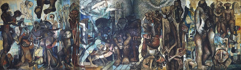 Omar El-Nagdi, Sarajevo, 1992. Oil on canvas in three parts. Sold for $1,145,000 AED 4,162,075 — World auction record for the artist