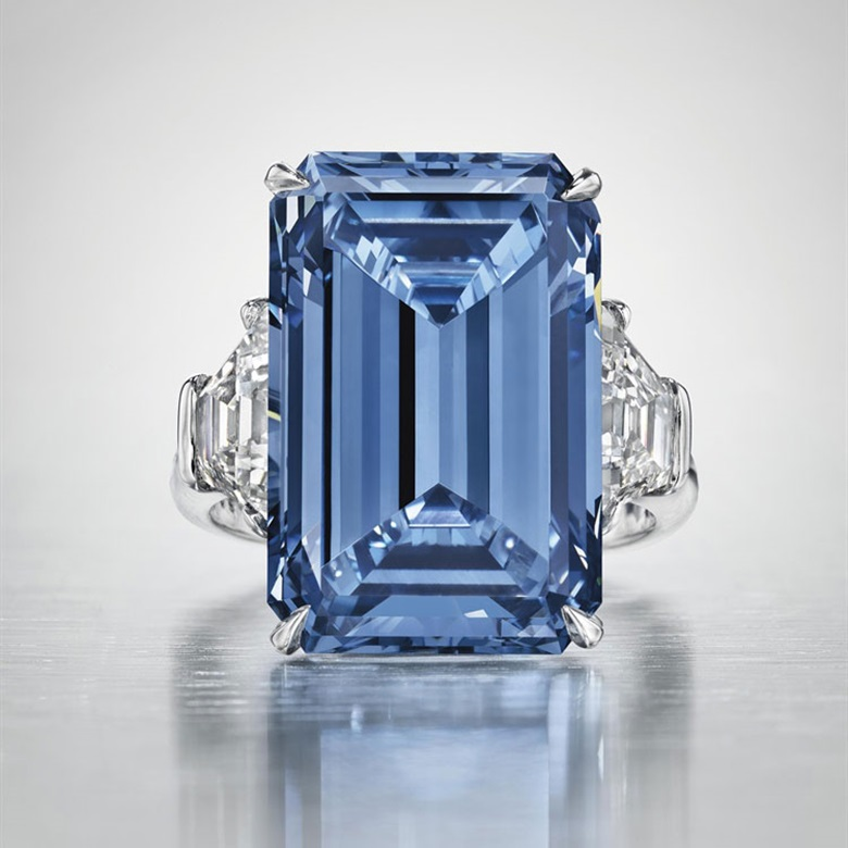 The Oppenheimer Blue — a sensational coloured diamond ring. Sold for $58,002,681 — World auction record for a jewel