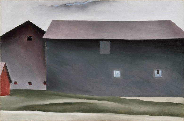 Georgia O'Keeffe 1887-1986. Lake George Barns, 1926. Oil paint on canvas. 538 x 814 mm. Collection Walker Art Center, Minneapolis. Gift of the T. B. Walker Foundation, 1954. © 2016 Georgia OKeeffe MuseumDACS, London