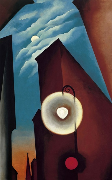 Georgia O'Keeffe 1887-1986. New York Street with Moon, 1925. Oil paint on canvas. 1220 x 770 mm. Carmen Thyssen-Bornemisza Collection on loan at the Museo Thyssen-Bornemisza, Madrid © 2016 Georgia OKeeffe Museum DACS, London