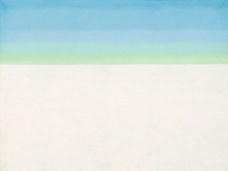 Georgia O'Keeffe 1887-1986. Sky with Flat White Cloud, 1962. Oil paint on canvas. 1524 x 2032 mm. National Gallery of Art, Washington, Alfred Stieglitz Collection, Bequest of Georgia O'Keeffe © 2016 Georgia OKeeffe MuseumDACS, London