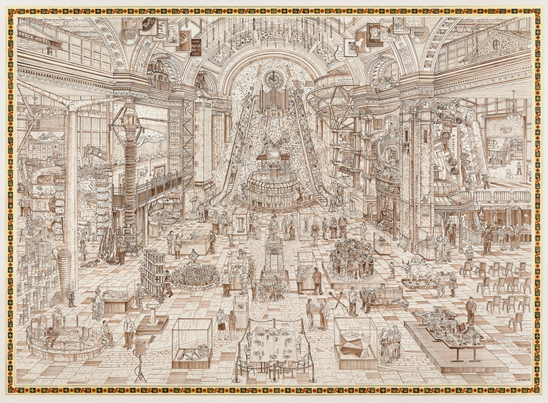 Adam Dant, The Government Stable, 2015. Ink on paper. 230 x 170 cm. Courtesy the artist
