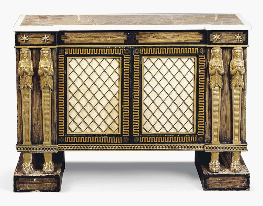 A Regency Egyptian Revival Simulated Rosewood And Giltwood Side Cabinet.  Early 19th Century. 33 In (84 Cm) High; 45¼ In (115 Cm) Wide; 16 In (41 Cm)  Deep.