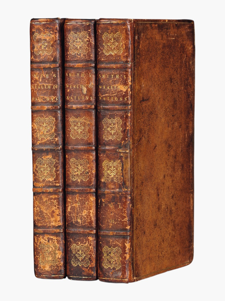 Adam Smith (1723-1790). An Inquiry into the Nature and Causes of the Wealth of Nations. With notes, supplementary chapters, and a life of Dr. Smith by William Playfair. London for T. Cadell and W. Davies, 1805. 3 volumes, 8°. Contemporary diced calf gilt, marbled edges (rebacked preserving original spines). Eleventh edition. Estimate $800-1,200. This lot will be offered in The Private