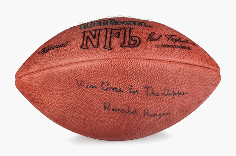 Ronald Reagan (1911-2004). An official NFL Wilson football, signed and inscribed by Reagan on the blank panel 'WIN ONE FOR THE GIPPER Ronald Reagan'. 11 in long. Unused, and housed in its original box. Estimate $5,000-10,000. This lot will be offered in The Private Collection of President and Mrs. Ronald Reagan, 21-22 September at Christies in New York