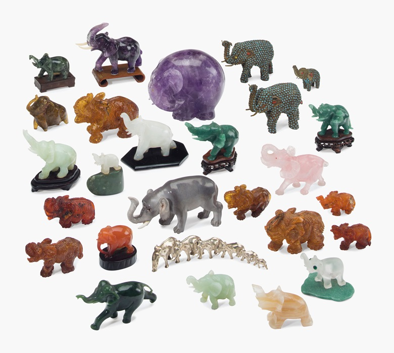 Mrs. Reagan's collection of 27 models of elephants, 20th century. Each variously modelled from a variety of materials, some on wooden bases, most with green inventory labels. 5 ¾ in (13.3 cm) long, the largest. Estimate $1,000-2,000. This lot is offered in the Private Collection of President and Mrs. Ronald Reagan on 21-22 September at Christie's New York
