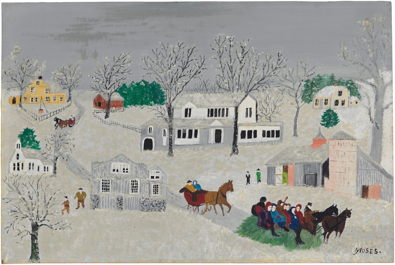 Anna Mary Robertson 'Grandma' Moses (1860-1961), A Gay Time, March 27, 1953. Oil on board. 12 x 18 in. Estimate $15,000-25,000. This lot will be offered in The Private Collection of President and Mrs. Ronald Reagan, 21-22 September at Christies in New York