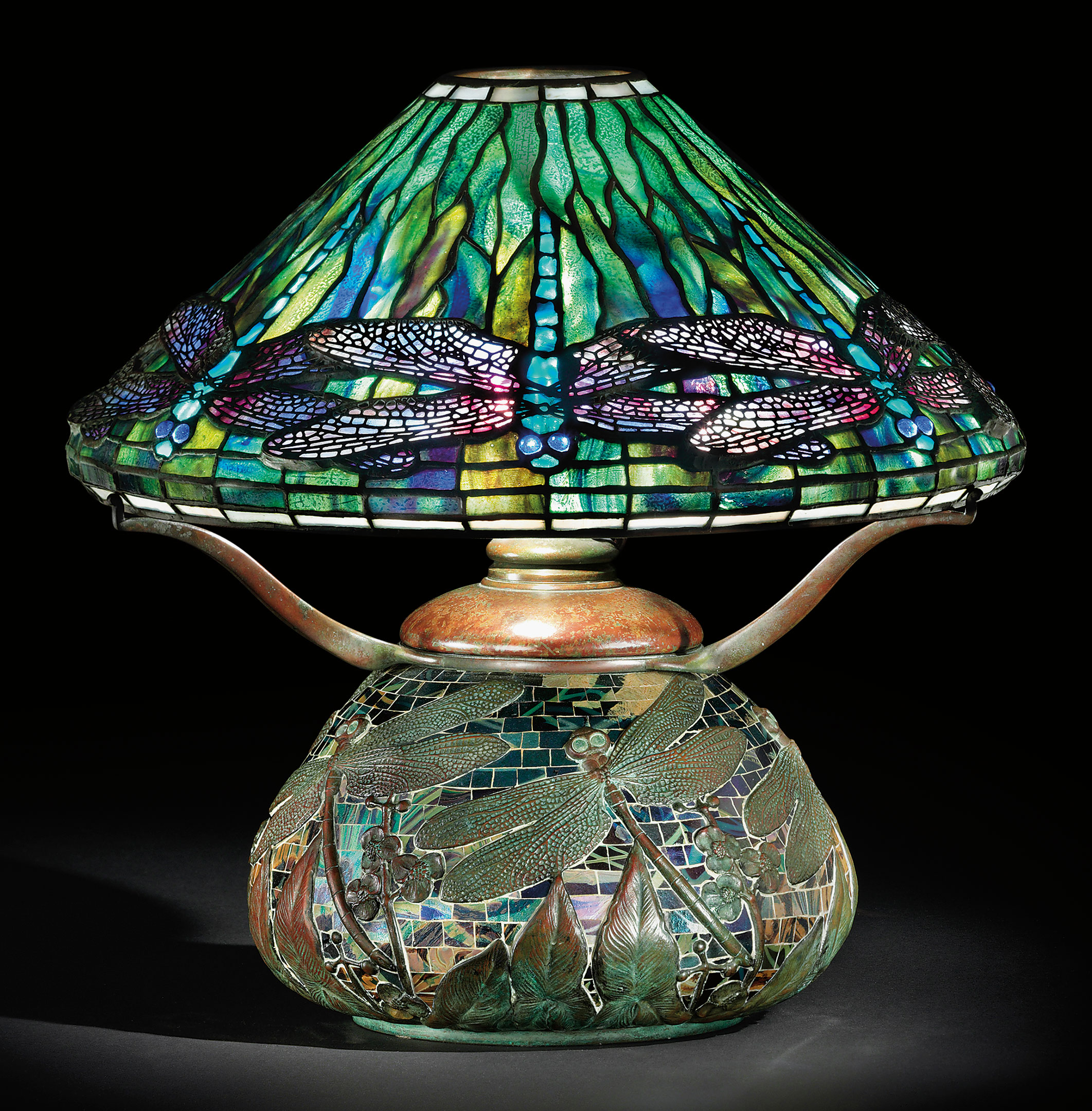 Tiffany Studios, A Dragonfly Leaded Glass, Bronze And Mosaic Table Lamp,  Circa 1905