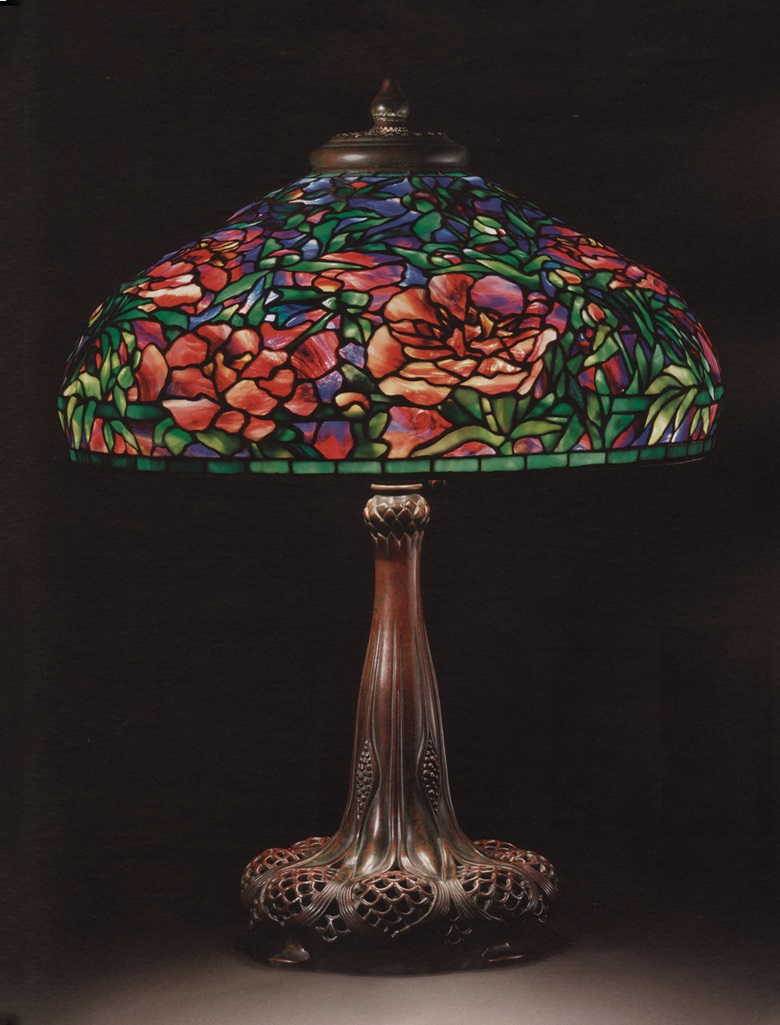 Studios An Elaborate Peony Leaded Glass And Bronze Table Lamp Circa