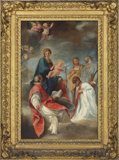 Andrea Sacchi (Nettuno, near Rome 1599–1661 Rome), The Madonna and Child with Saints Ignatius of Loyola, Francis Xavier, Cosmas and Damian – a bozzetto. Oil on canvas. 24 x 15⅞ in (60.8 x 40.4 cm). Estimate £50,000–80,000. This work is offered in Brian Sewell Critic & Collector on 27 September at Christie's London