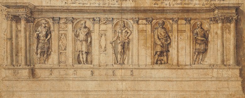 Baldassare Peruzzi (Ancaiano 1481-1536 Rome), Design for a Bench the five niches containing figures of ancient heroes (left to right) A young hero, Marcus Atilius Regulus, Hercules, Lucius Junius Brutus and another hero (possibly Julius Caesar). Black chalk, pen and brown ink, brown and grey wash, unframed. 7¾ x 19 in (19.7 x 48.3 cm). Estimate £100,000–150,000. This work is