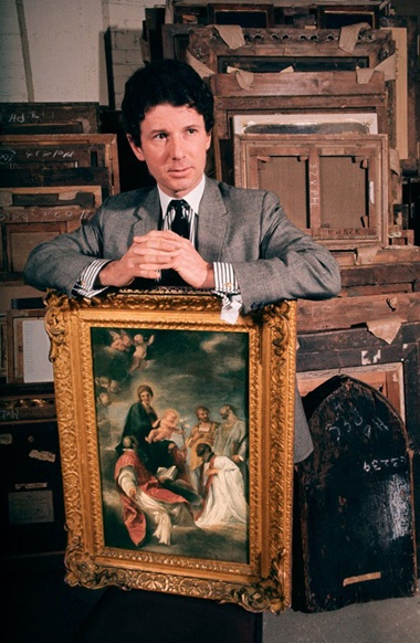 Brian Sewell with the painting in 1966 © Adam Woolfitt for The Weekend Telegraph, 10 June 1966