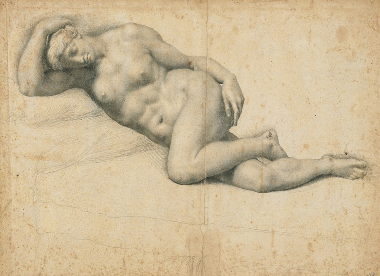 Daniele Ricciarelli, called Daniele da Volterra (Volterra 1509–1566), Dido Reclining, Asleep. Black chalk, watermark crossbow in a circle (Briquet 749, Lucca, 1548). 13 x 18⅛ in (33.2 x 45.9 cm). Estimate £100,000–150,000. This work is offered in Brian Sewell Critic & Collector on 27 September at Christie's London