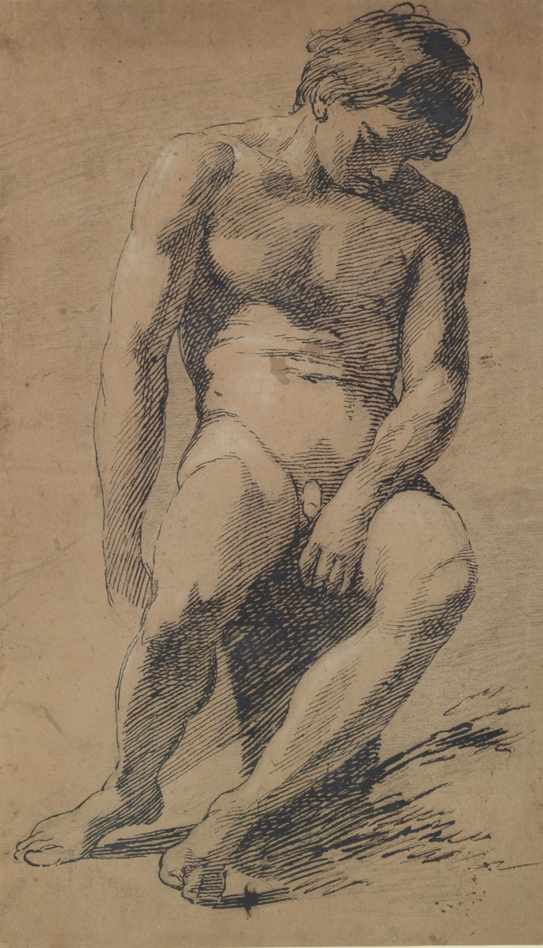 James Barry (1741 – 1806), Seated Male Nude. Pencil, black chalk, pen and black ink heightened with white chalk on buff paper. 16¾ x 9¾ in (42.5 x 24.7 cm). £20,000–30,000. This work is offered in Brian Sewell Critic & Collector on 27 September at Christie's London