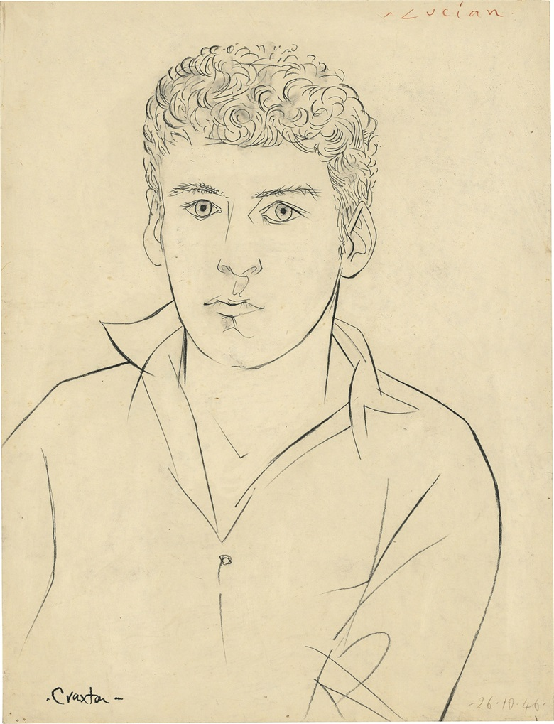John Craxton (1922–2009), Lucian Freud. Black chalk. 22⅛ x 16¾ in (56 x 42.7 cm). Estimate £50,000–80,000. This work is offered in Brian Sewell Critic & Collector on 27 September at Christie's London