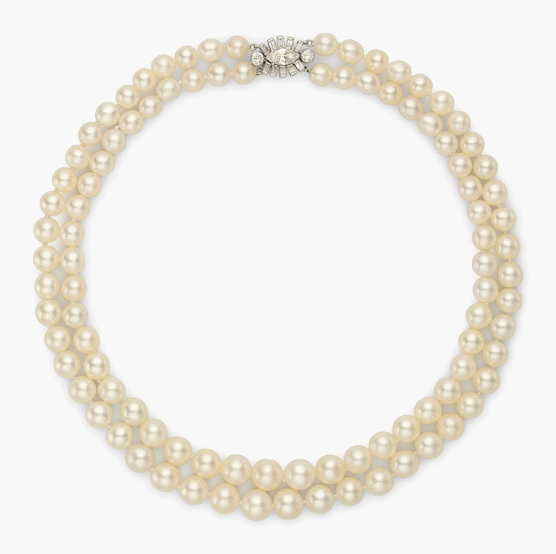 A two-strand natural pearl necklace, by Cartier. Sold for $713,000 on 10 December 2015