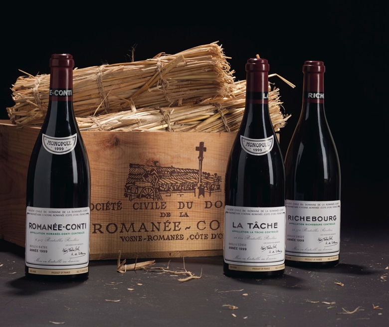Bottles of Romanée-Conti, La Tâche and Richebourg