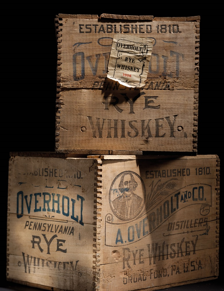 Overholt, Rye Whiskey 1912. 12 bottles per lot. Sold for between $12,000 and $18,000 on 24 October 2015