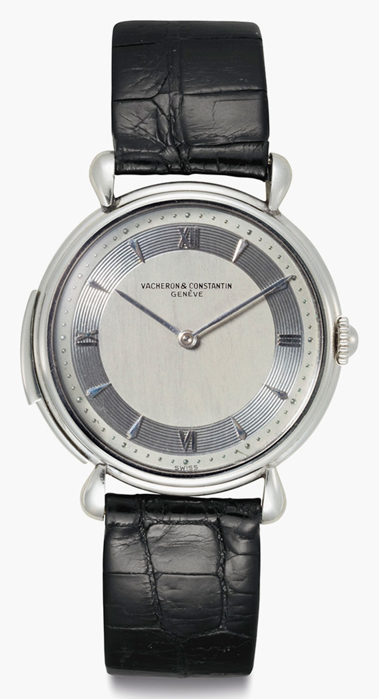 Vacheron Constantin. An Extremely Fine and Rare Platinum Minute Repeating Wristwatch with Silvered Vertical Satined Dial. Sold for $605,000 on 7 June 2016