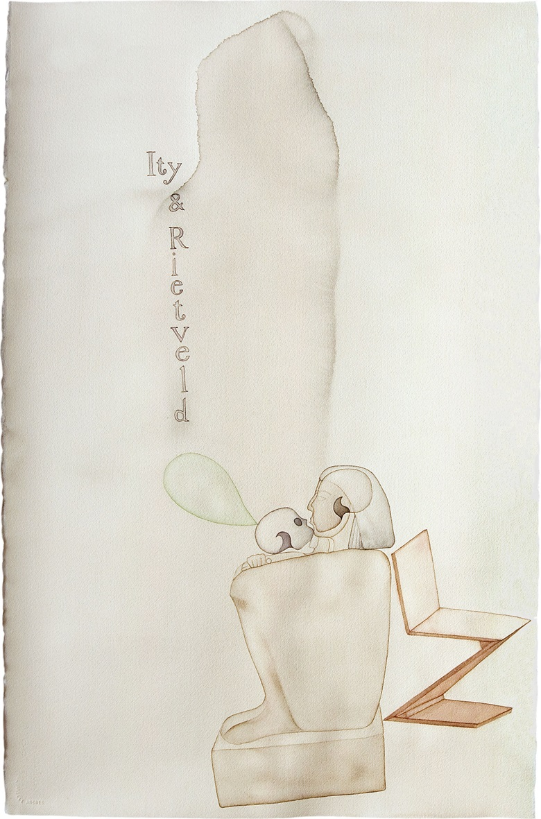 Atul Dodiya (b. 1959), Ity and Rietveld, 2007. Watercolour on paper. 40 x 26 in (101.6 x 66 cm). Estimate $15,000–20,000. This work is offered in South Asian Modern + Contemporary Art on 14 September 2016 at Christies in New York