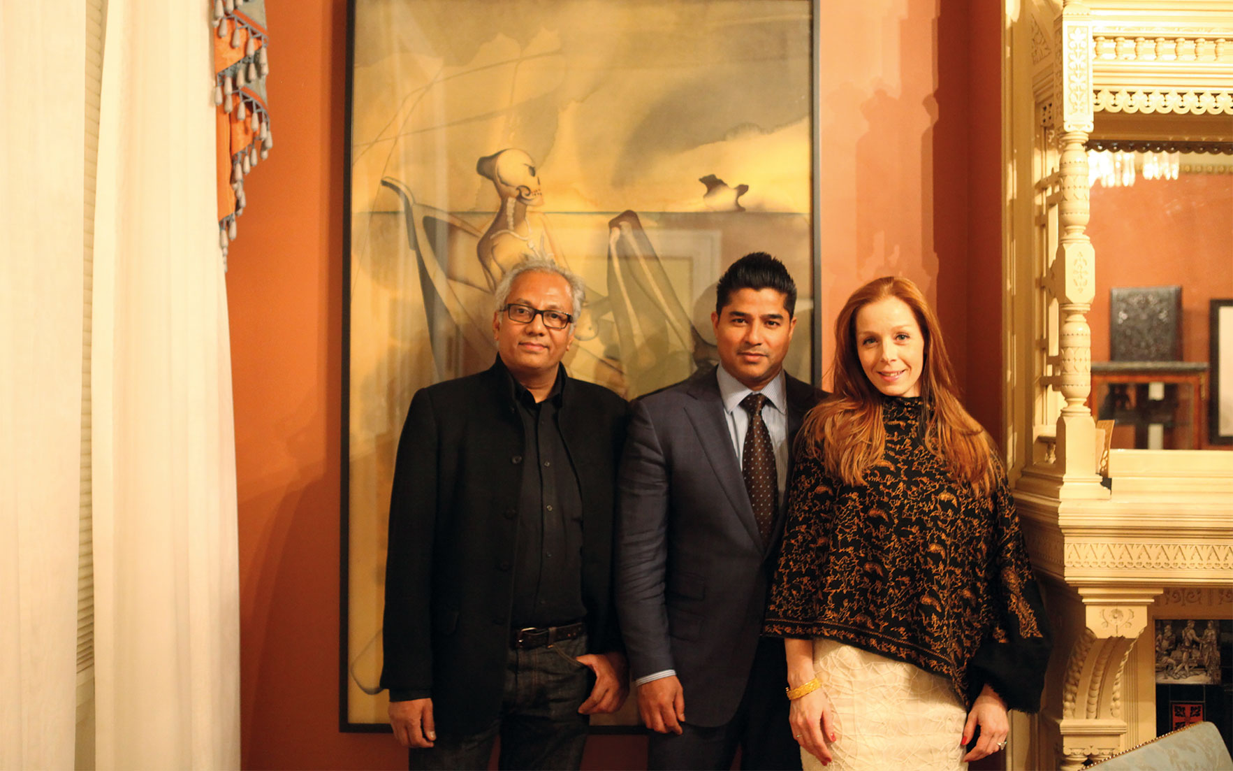 Artist Atul Dodiya, left, with art collectors Pamela and Ajay Raju. Image courtesy of Pamela and Ajay Raju