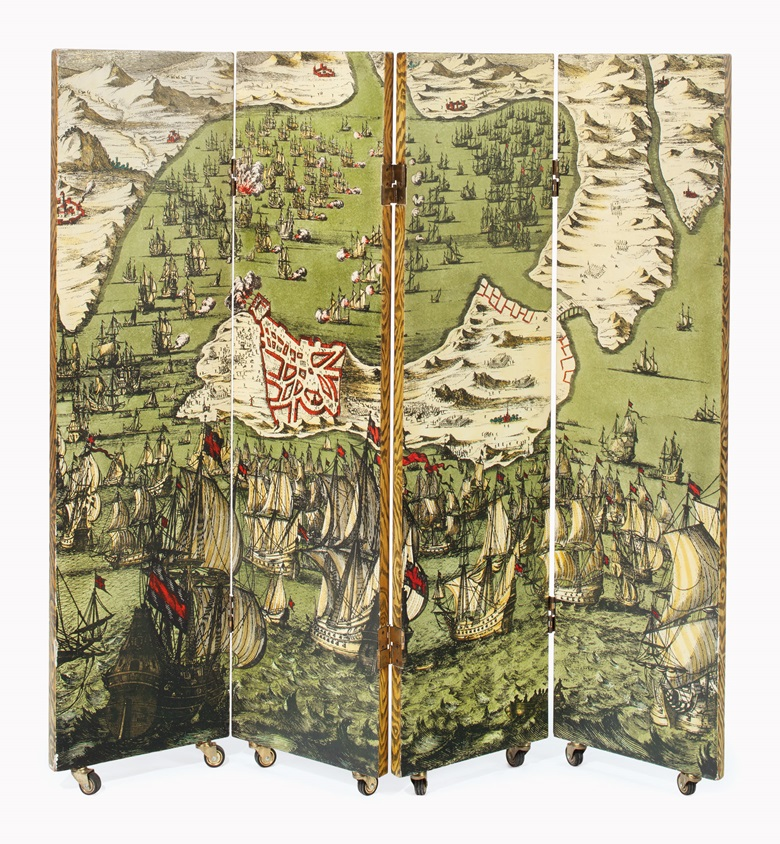 Piero Fornasetti (1913-1988), A four-panel Battaglia NavaleLibri folding screen, designed circa 1954. This example likely 1950s, lithographically printed wood, on casters. Each panel 53 in (134.5 cm) high, 13¾ in (34.9 cm) wide, 1¼ in (3.2 cm) deep. This work was offered in First Open  Home on 27 September 2016 at Christies in New York