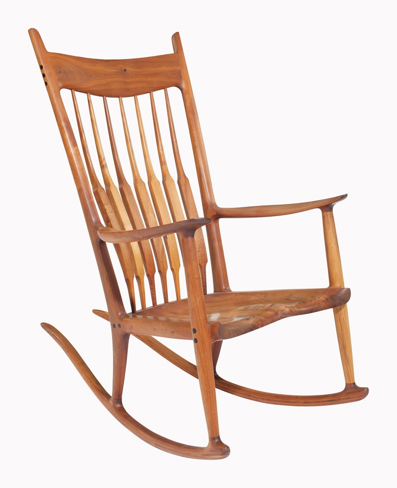 Sam Maloof (1916-2009), A Rocking Chair, 1980. Walnut, ebony. 45 in (114.3 cm) high. This work was offered in First Open  Home on 27 September 2016 at Christies in New York and sold for $16,250