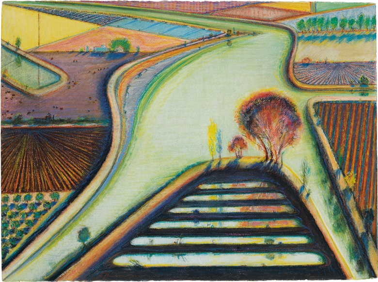 Wayne Thiebaud (B. 1920), Levees And Dikes (Green River Turn). Pastel, charcoal and graphite on paper, 22 x 29 ¾ in (55.9 x 75.6 cm) Estimate $350,000-450,000. This lot is offered in Thiebaud from Thiebaud Prints and Works on Paper from the Private Studio of Wayne Thiebaud on 29 September 2016 at Christie's in New York