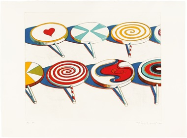 Wayne Thiebaud (B. 1920), Big Suckers, From Seven Still Lifes And A Rabbit. Image 17½ x 21¾ in (432 x 559 mm.), sheet 22 x 29¾ in (559 x 756 mm). Estimate $50,000-70,000. This lot is offered in Thiebaud from Thiebaud Prints and Works on Paper from the Private Studio of Wayne Thiebaud on 29 September 2016 at Christie's in New York