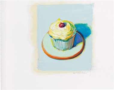 Wayne Thiebaud (B. 1920), Untitled (Cupcake). Oil and graphite on paper, image 5¼ x 4¼ in (13.3. x 10.8 cm), sheet 6⅞ x 8⅞ in (17.5 x 22.5 cm) Estimate $200,000-300,000. This lot is offered in Thiebaud from Thiebaud Prints and Works on Paper from the Private Studio of Wayne Thiebaud on 29 September 2016 at Christie's in New York