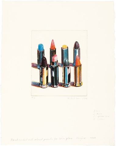 Wayne Thiebaud (B. 1920), Eight Lipsticks. Image 7 x 6 in (177 x 152 mm) , sheet 15 ¼ x 12 in (387 x 305 mm). Estimate $30,000-50,000. This lot is offered in Thiebaud from Thiebaud Prints and Works on Paper from the Private Studio of Wayne Thiebaud on 29 September 2016 at Christie's in New York
