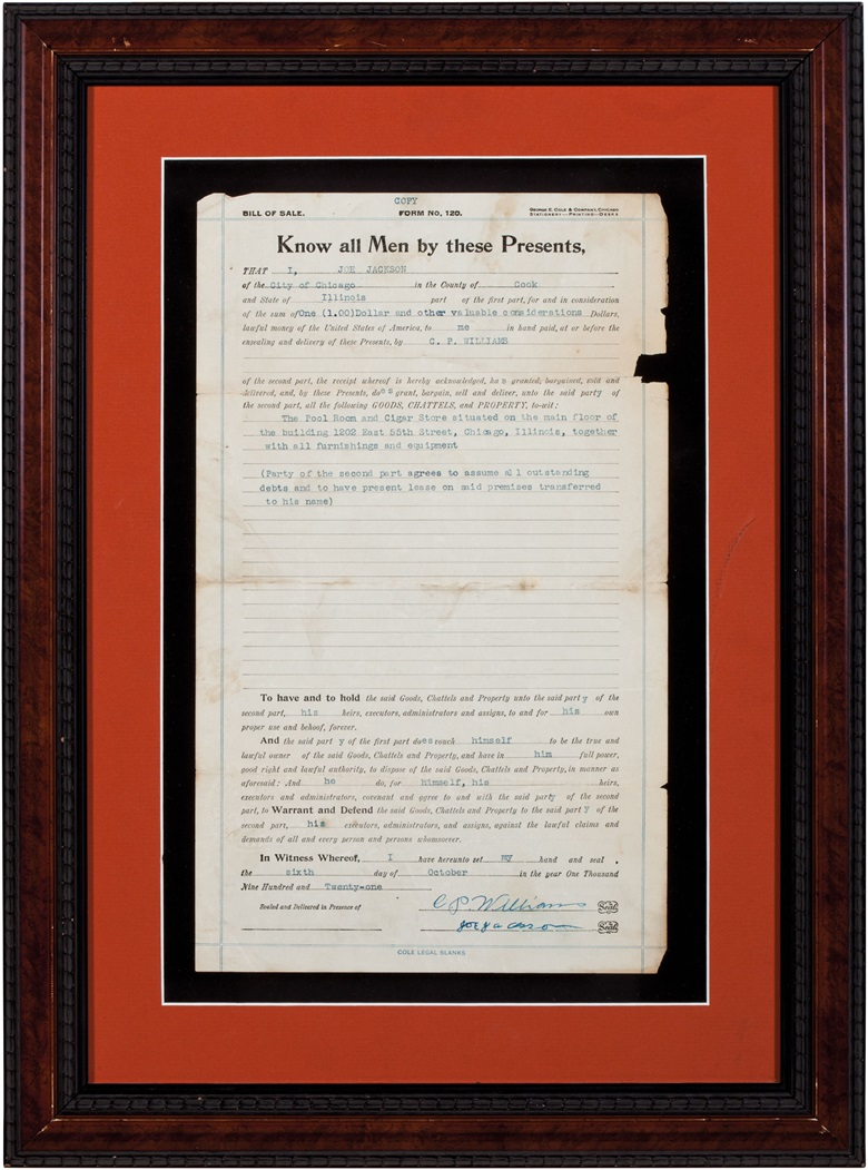 Joe Jackson signed bill of sale. Document, 8½ x 13¾ in, framed, 15 x 21 in. Estimate $30,000-50,000. This lot is offered in The Golden Age of Baseball, Selections of Works from the National Pastime Museum on 19-20 October 2016 at Christie's in New York