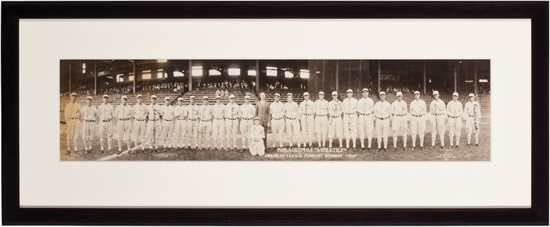 1929 Philadelphia Athletics signed team panorama. Image, 29½ x 7 in, framed, 37½ x 15½ in. Estimate $8,000-10,000. This lot is offered in The Golden Age of Baseball, Selections of Works from the National Pastime Museum on 19-20 October 2016 at Christie's in New York