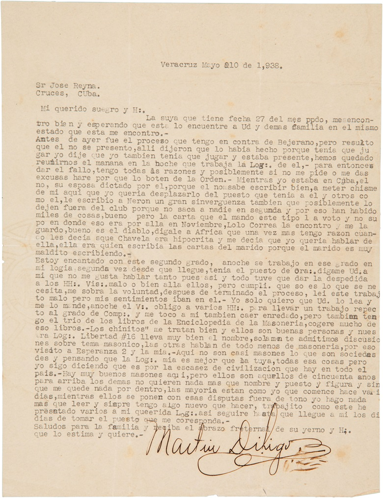 Martin Dihigo signed letter. 8¼ x 11¾ in. Estimate $3,000-4,000. This lot is offered in The Golden Age of Baseball, Selections of Works from the National Pastime Museum on 19-20 October 2016 at Christie's in New York