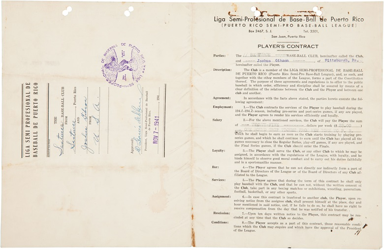 Josh Gibson signed contract. 8½ x 11 in. Estimate $60,000-80,000. This lot is offered in The Golden Age of Baseball, Selections of Works from the National Pastime Museum on 19-20 October 2016 at Christie's in New York