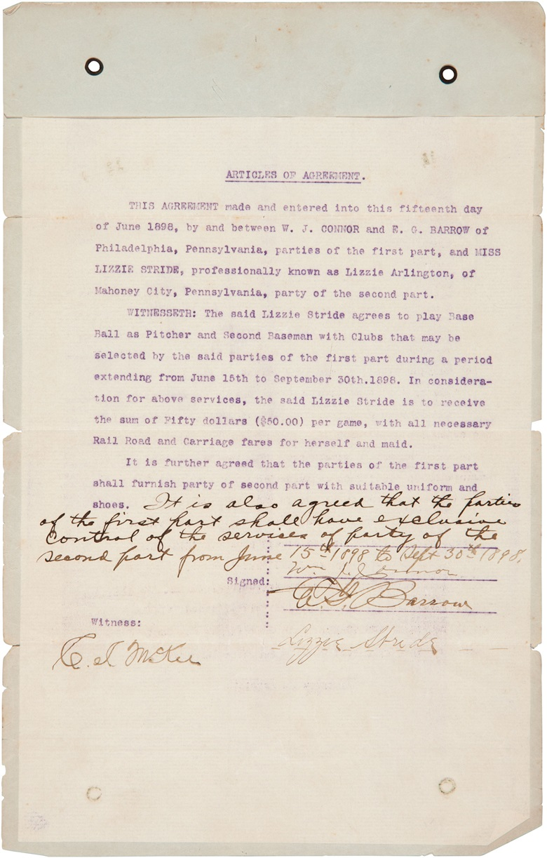 Lizzie Stride (Arlington) signed contract. 8¼ x 13¼ in. Estimate $10,000-15,000. This lot is offered in The Golden Age of Baseball, Selections of Works from the National Pastime Museum on 19-20 October 2016 at Christie's in New York