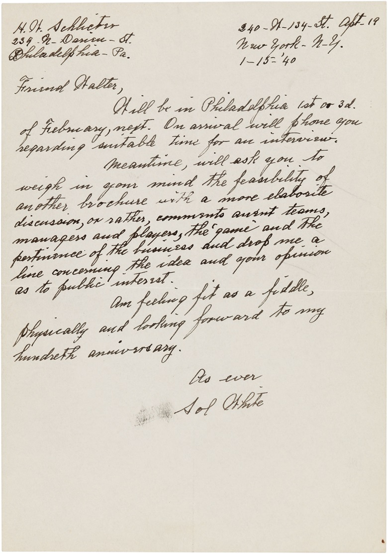 Sol White handwritten letter. 7 x 10 in. Estimate $6,000-8,000. This lot is offered in The Golden Age of Baseball, Selections of Works from the National Pastime Museum on 19-20 October 2016 at Christie's in New York