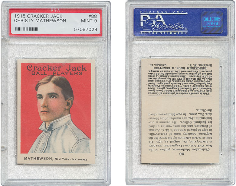 1915 Cracker Jack #88 Christy Mathewson. . Estimate $40,000-60,000. This lot is offered in The Golden Age of Baseball, Selections of Works from the National Pastime Museum on 19-20 October 2016 at Christie's in New York