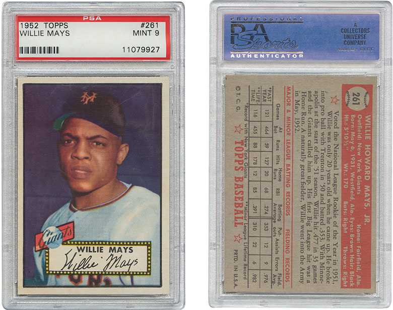 1952 Topps #261 Willie Mays. Estimate $200,000-250,000. This lot is offered in The Golden Age of Baseball, Selections of Works from the National Pastime Museum on 19-20 October 2016 at Christie's in New York
