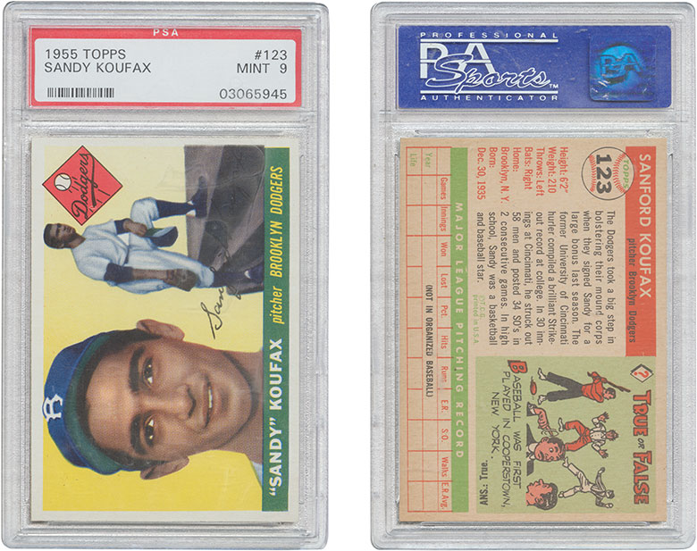 1955 Topps #123 Sandy Koufax. Estimate $60,000-80,000. This lot is offered in The Golden Age of Baseball, Selections of Works from the National Pastime Museum on 19-20 October 2016 at Christie's in New York