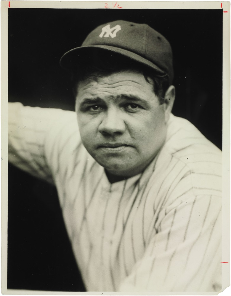 Babe Ruth, Lou Gehrig & Waner Bros. photograph. 10 x 7½ in. Estimate $1,000-1,500. This lot is offered in The Golden Age of Baseball, Selections of Works from the National Pastime Museum on 19-20 October 2016 at Christie's in New York
