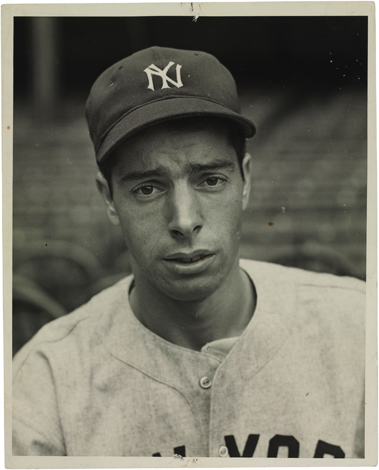 Joe Dimaggio photograph. Cosmo-Sileo. 8 x 10 in. Estimate $1,000-1,500. This lot is offered in The Golden Age of Baseball, Selections of Works from the National Pastime Museum on 19-20 October 2016 at Christie's in New York