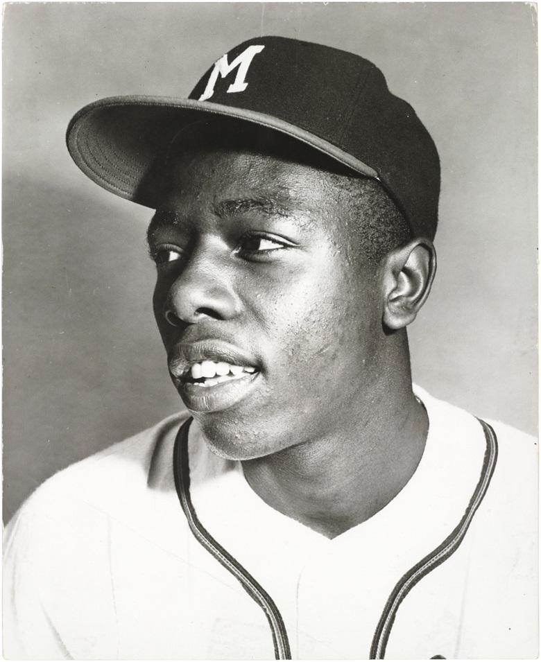Hank Aaron photograph. 8 x 10 in. Estimate $1,500-2,000. This lot is offered in The Golden Age of Baseball, Selections of Works from the National Pastime Museum on 19-20 October 2016 at Christie's in New York