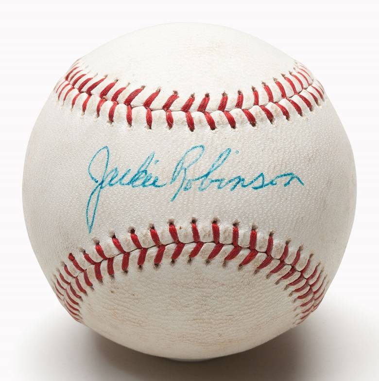 Jackie Robinson single signed baseball. Estimate $30,000-40,000. This lot is offered in The Golden Age of Baseball, Selections of Works from the National Pastime Museum on 19-20 October 2016 at Christie's in New York