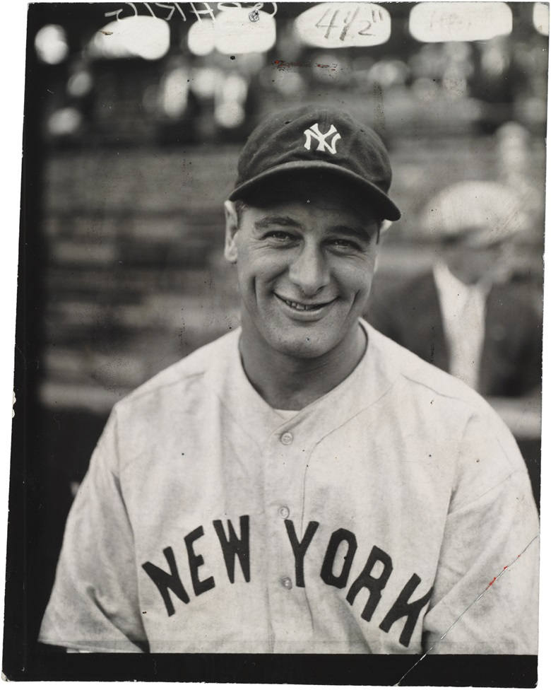 Lou Gehrig photograph. Charles Conlon (1868-1945). 6½ x 8½ in. Estimate $6,000-8,000. This lot is offered in The Golden Age of Baseball, Selections of Works from the National Pastime Museum on 19-20 October 2016 at Christie's in New York